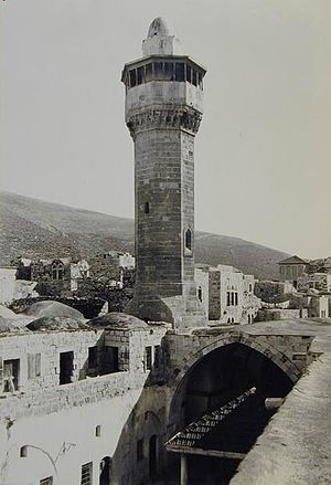 Nablus - Minaret and entrance of 10th century Great Mosque of Nablus, 1908
