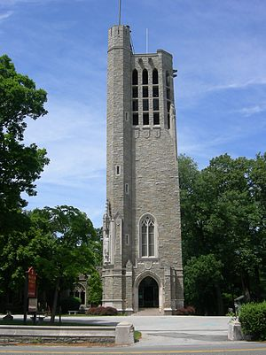 Justice Bell (Valley Forge) - The National Patriots Bell Tower, the Justice Bell's home since 1943.