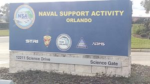 Naval Air Warfare Center Training Systems Division - Sign outside Naval Support Activity Orlando