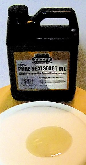 A can of neatsfoot oil and a small dollop of t...