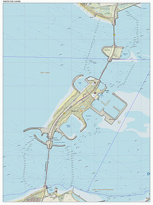 Oosterscheldekering - Topographical map of the Oosterscheldedam. Alternatingly it consists of five sections: three movable flood barriers and two artificial islands.