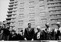 Nelson Rockefeller, President John F. Kennedy, David Dubinsky, George Meany, and Mayor Robert Wagner at the ILGWU cooperative housing dedication, New York, 1962. (5279396650).jpg