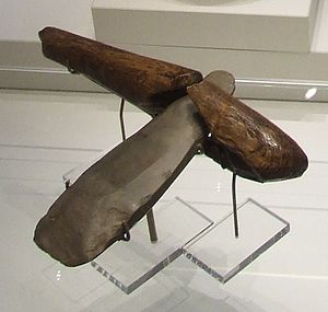 Langdale axe industry - Neolithic stone axe from Langdale with well preserved handle from Ehenside Tarn (now in the British Museum)