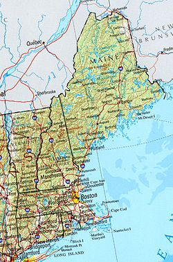 a political and geographical map of new england shows the coastal plains in the east and hills mountains and valleys in the west and the north
