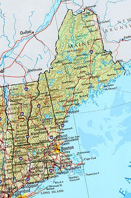 Geographische Karte Neuenglands (Vermont am linken Rand)