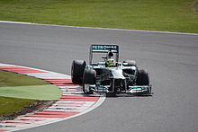 Mico Rosberg driving into a turn