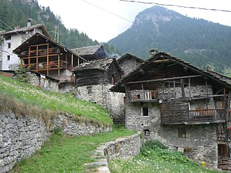 Gaby, Aosta Valley - Niel village with the tipic houses called Stadel