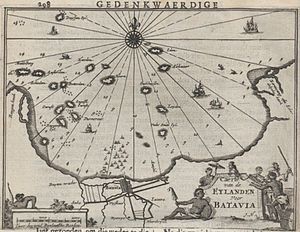 Thousand Islands (Indonesia) - Map of the archipelago of islands to the north of Batavia