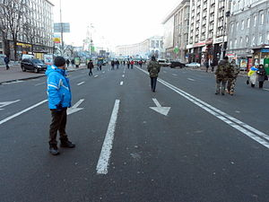Anti-Maidan - The 'corridor' on Khreshchatyk between the Euromaidan and 'Anti-Maidan' demonstrations, looking towards Maidan Nezalezhnosti, 8:00 am, 14 December.