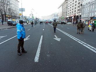 Anti-Maidan - The 'corridor' on Khreshchatyk between the Euromaidan and 'Anti-Maidan' demonstrations, looking towards Maidan Nezalezhnosti, 8:00 am, 14 December.