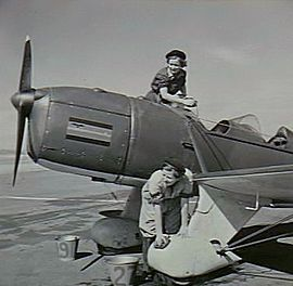 Two women in overalls sponging a single-engined monoplane