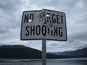 No target shooting - Sign is located at mile 8...