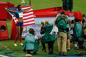 Athletics at the 2016 Summer Olympics – Women's 400 metres hurdles - Muhammad celebrating