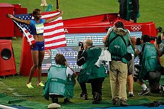 Athletics at the 2016 Summer Olympics – Women's 400 metres hurdles - Muhammad celebrating