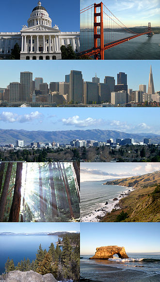 Northern California - Clockwise: California State Capitol in Sacramento, Golden Gate Bridge, San Francisco skyline, San Jose skyline, Muir Woods National Monument, the northern California coast as seen from Muir Beach Overlook, view of the California side of Lake Tahoe and Natural Bridges State Beach in Santa Cruz.