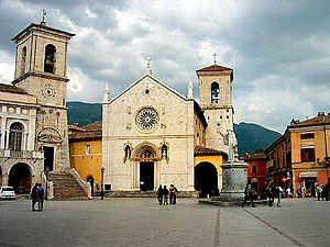 Norcia - The church of St. Benedict, facing Piazza San Benedetto, in Norcia, destroyed in an earthquake on 30 October 2016.