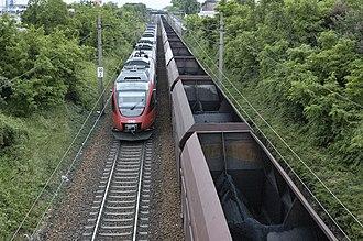 North railway (Austria) - Image: Nordbahn in Gaenserndorf 01