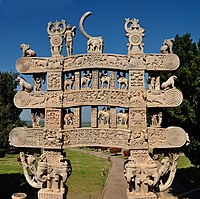 Satavahana gateway at Sanchi, 1st century CE North Gateway - Rear Side - Stupa 1 - Sanchi Hill 2013-02-21 4480-4481.JPG