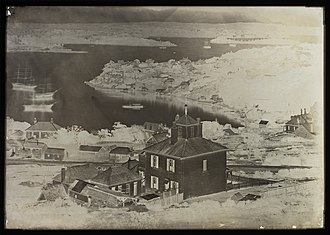 Collodion process - North Sydney and Sydney Harbour, by C Bayliss B Holtermann, 1875, colossal collodion glass-plate