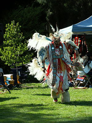Fancy dance - A Northern style Men's Fancy Dancer at the West Valley Powwow in Saratoga, CA, 2005