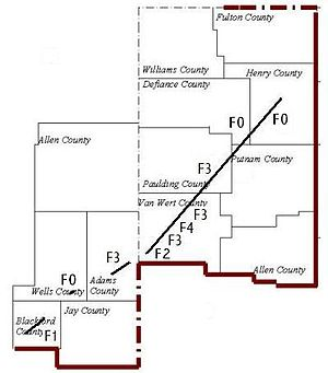 Tornado outbreak of November 9–11, 2002 - Van Wert, Ohio, tornado track map.