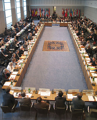 Organization for Security and Co-operation in Europe - A meeting of the OSCE Permanent Council at the Hofburg in Vienna, Austria.