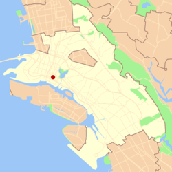 Location of Oakland's Chinatown in the City of Oakland.