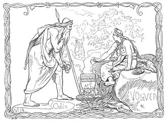 Norse mythology - A völva, a Scandinavian seeress, tells the spear-wielding god Odin of what has been and what will be in Odin and the Völva by Lorenz Frølich (1895)