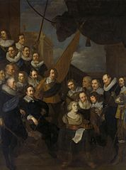 Officers of the militia of departmetn XIX in Amsterdam under the command of Cornelis Bicker and Frederick van Banchem, ready to receive Maria de' Medici in 1638