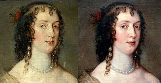 Bowes Museum - Portrait of Olivia Boteler Porter by Anthony van Dyck before and after restoration. The version on the left was the photograph originally posted to the Your Paintings website.