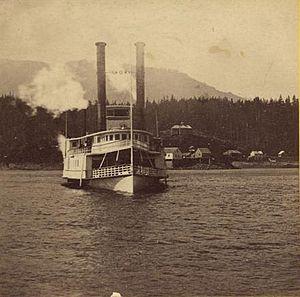 Oneonta (sidewheeler) - Oneonta near upper Cascades, in 1867