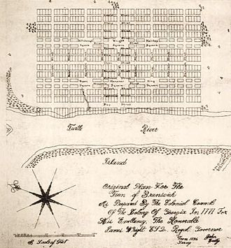 Brunswick, Georgia - Original town plan (1771)