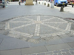 Archibald Johnston - Warriston was hanged at the Mercat Cross in Edinburgh, now marked by these pavement setts.