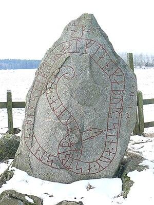 Östergötland Runic Inscription 224 - The north side of inscription Ög 224.