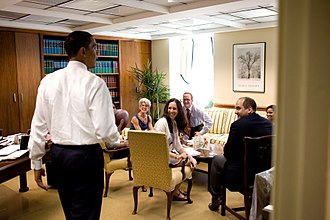 White House Office of the Staff Secretary - President Barack Obama surprises members of the Office of the Staff Secretary in the West Wing of the White House during an impromptu drop-by visit on May 21, 2009
