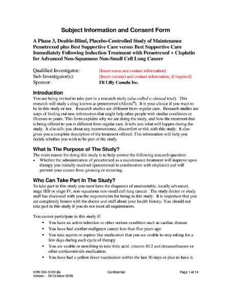 Example of informed consent document from the PARAMOUNT trial PARAMOUNT Eli Lilly Informed Consent Document.djvu