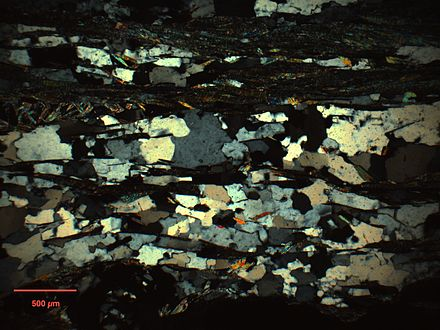 (5x) Quartz(w/mica) exhibiting dominant subgrain rotation recrystallization. Note similar grain/subgrain sizes and relatively straight grain boundaries. Thin section prepared by Alex Webb. Pabbar SGR.jpg
