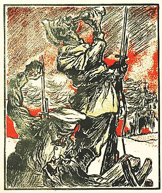 """People's Party (interwar Romania) - The two faces of 1920 in Romania: """"The Russian Bane"""", as depicted in a right-wing pamphlet..."""