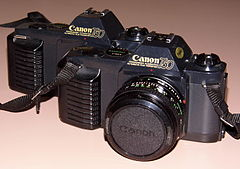 Pair of Vintage Canon T50 35mm SLR Film Cameras, Made In Japan, Circa 1983 - 1989 (13542034965).jpg