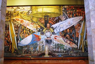 Man at the Crossroads - The recreated mural in context (only the central section of the composition is visible)