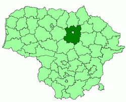 Location of Panevėžys district municipality within Lithuania