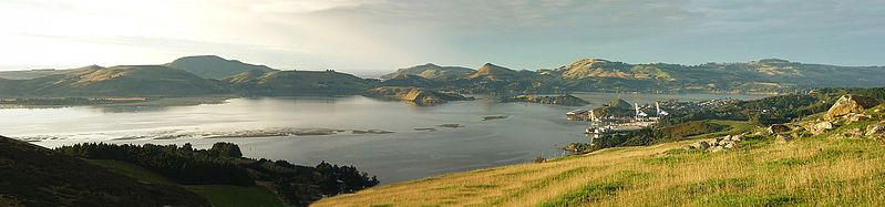 File:Panorama from Purakanui Road looking to Port Chalmers and Otago Peninsular South Island New Zealand.jpg
