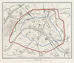 Paris, 1859   chemin de fer d Auteuil (vert) et de Petite Ceinture (orange)  entre les limites d alors de la ville (bleu) et les fortifications Thiers  ... 62d71809198
