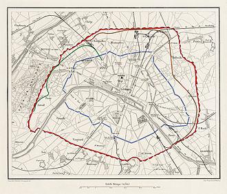 Chemin de fer de Petite Ceinture - Paris in 1859 - its Fortifications, pre-1860 limits and the Chemin de fer de (Petite) Ceinture (at this date, only the Rive Droite and Paris-Auteuil sections were built)