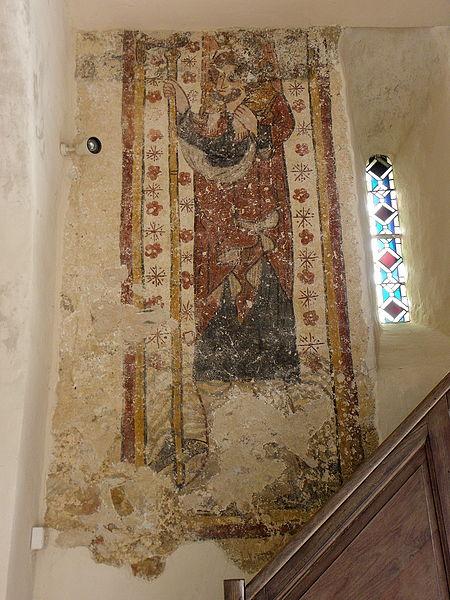 Peinture murale de l'église Saint-Pierre de Parné-sur-Roc (53). Saint-Christophe.