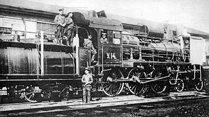 Russian locomotive class U -  Locomotive Uu-14 on the Ryazan-Ural Railway in 1910s, with rounded oil tender