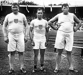 Athletics at the 1912 Summer Olympics – Men's shot put - Left-right: Pat McDonald, Lawrence Whitney, Ralph Rose