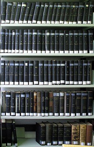 Realencyclopädie der classischen Altertumswissenschaft - The Realencyclopädie (RE, 1893–1980) fills an entire bookcase in the library of the University of Göttingen's Seminar for Classical Philology. At the lower right are eight volumes of the encyclopedia's earlier edition (1837–1864).