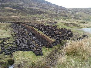 Mire - Subsistence extraction of peat from derelict blanket bog, South Uist, Scotland.