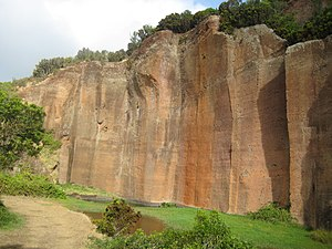 Santa Bárbara (Vila do Porto) - The red basaltic geological formation of Poço da Pedreira mined for the red stone
